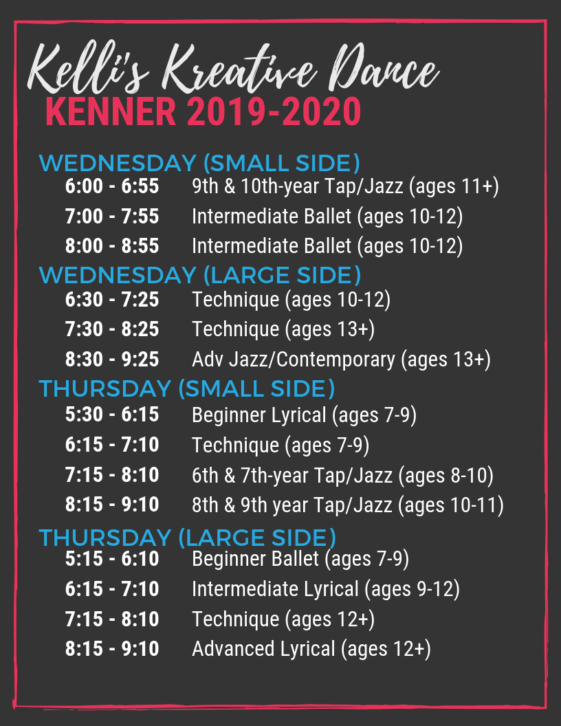2019 Kenner Dance Studio Schedule